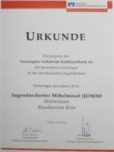 Urkunde zum Förderpreis der VVR-Bank 2014 für den Mitinitator der JOMM-Projekte